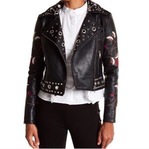 Romeo & Juliet Floral Embroidered Moto Jacket